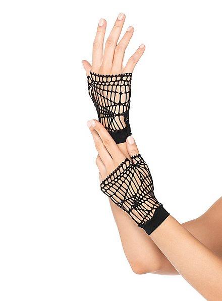 Fingerless Spiderweb Net Gloves black