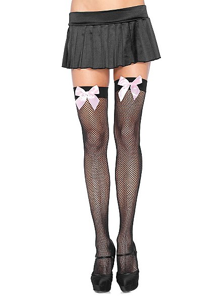 Fish-net stockings with bow black-pink