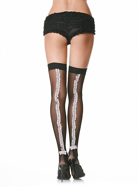 Fish-net stockings with frilled seam black-pink