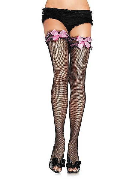 Fishnet Stockings with Pink Satin Bows
