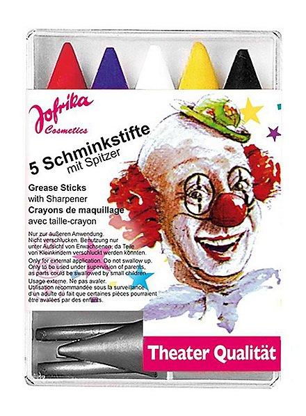 Five carnival make-up pencils with sharpener