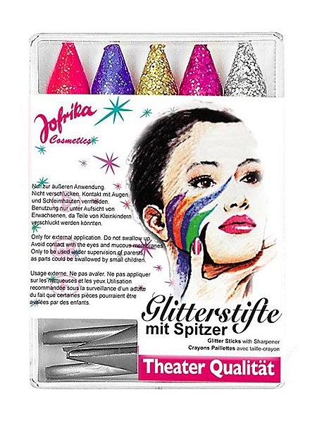 Five glitter make-up pencils with sharpener