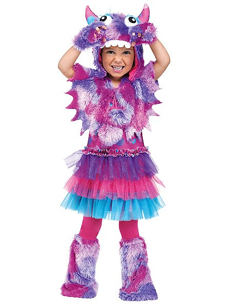 Flauschiges Grummel-Monster violett Kinderkostüm