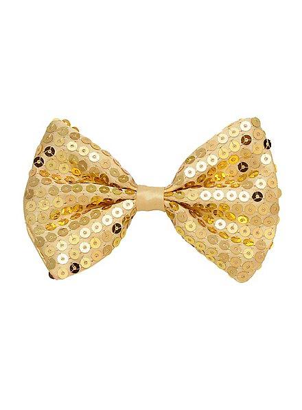 Fliege Pailletten gold