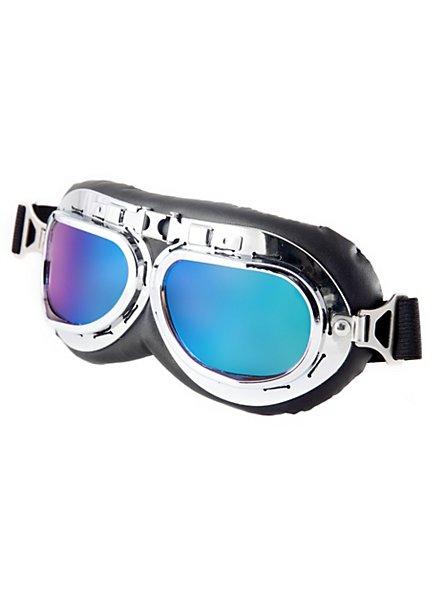 Fliegerbrille deluxe regenbogen-blau