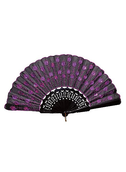 Flora Hand Fan purple