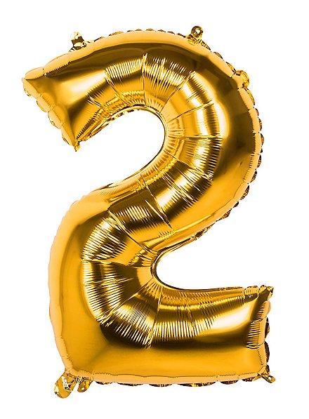 Folienballon Zahl 2 gold 86 cm