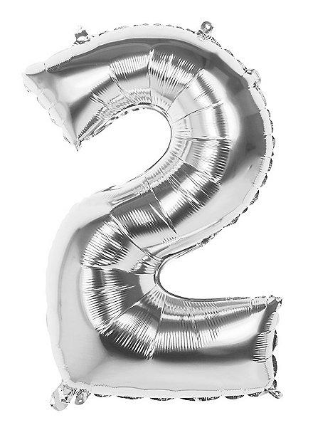 Folienballon Zahl 2 silber 86 cm