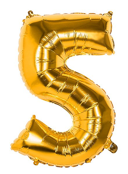 Folienballon Zahl 5 gold 86 cm