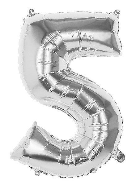 Folienballon Zahl 5 silber 86 cm