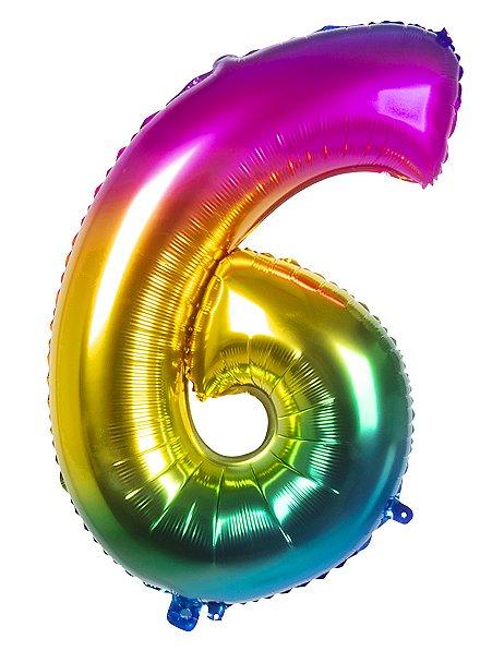 Folienballon Zahl 6 Regenbogen 86 cm