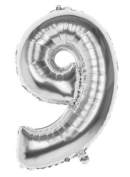 Folienballon Zahl 9 silber 86 cm