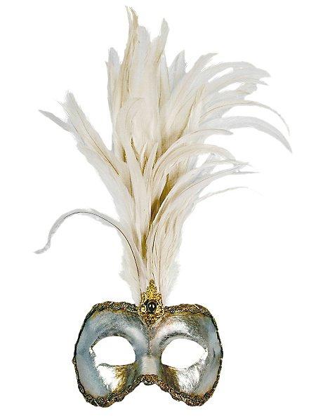 Galetto Colombina argento piume bianche - Venezianische Maske