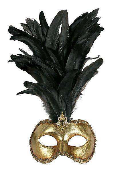 Galetto Colombina oro piume nere - Venezianische Maske