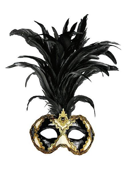 Galetto Colombina scacchi bianco nero piume nere - masque vénitien