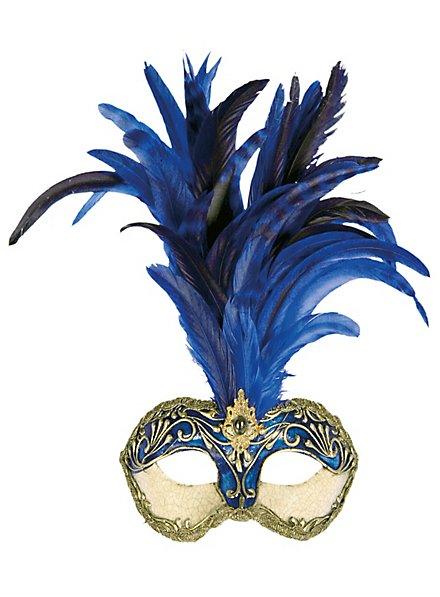 Galetto Colombina stucco craquele blu piume blu - Venetian Mask
