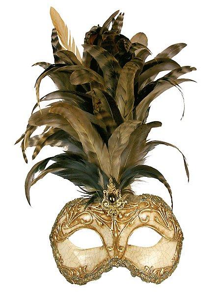 Galetto Colombina stucco craquele oro piume miele - Venezianische Maske