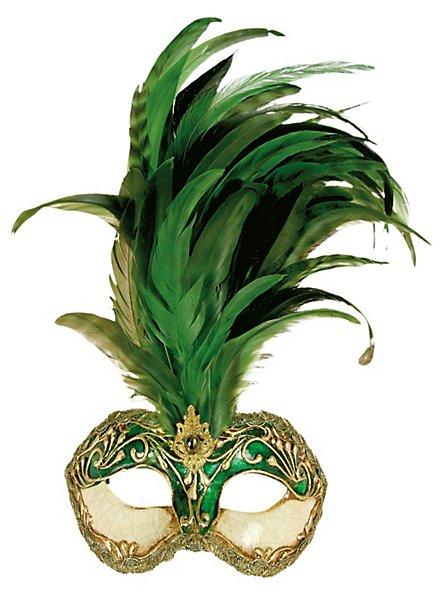 Galetto Colombina stucco craquele verde piume verde - Venetian Mask