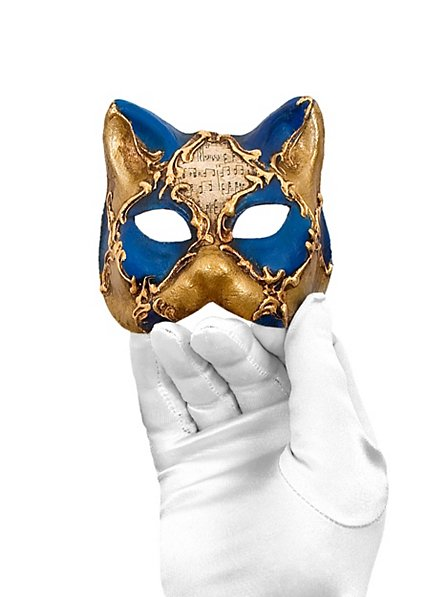Gatto piccolo scacchi oro blu musica Venezianische Miniaturmaske
