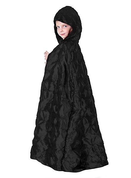 Gesteppter Kapuzenumhang schwarz für Kinder