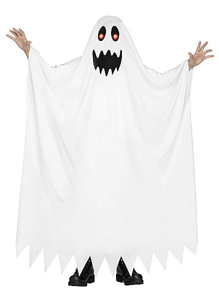 Ghost kid's costume with glowing eyes