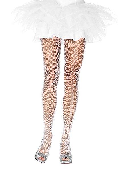 Glitter fishnet tights white-silver