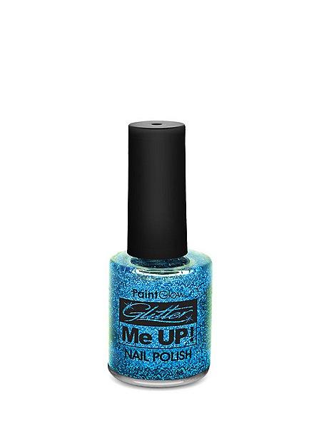 Glitter nail polish blue