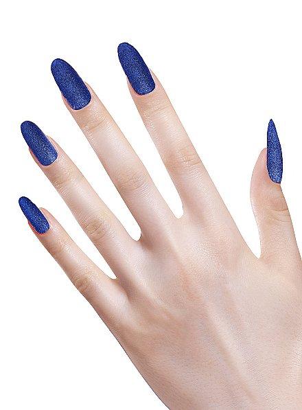 Glitzer Fingernägel blau