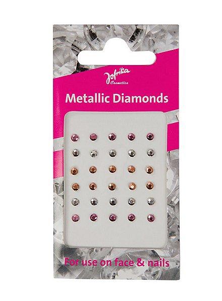 Glitzersteine fürs Gesicht zum Aufkleben metallisch