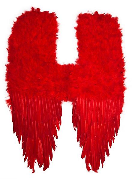Grandes ailes de démon en plumes rouges