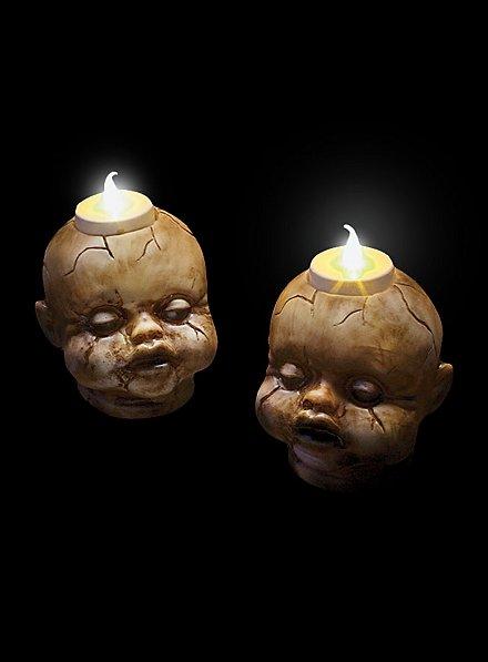 Gruselige Puppenköpfe Halloween Teelichter