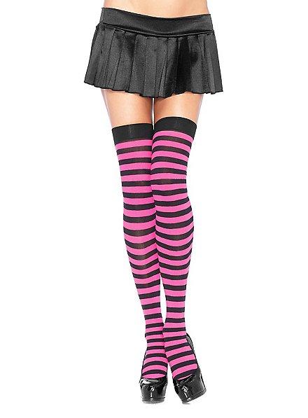 Hold up stockings black-neonpink ringed