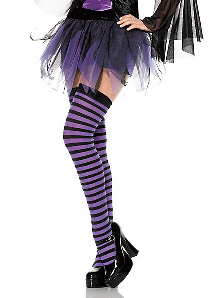 Hold-up stockings black-violet, striped