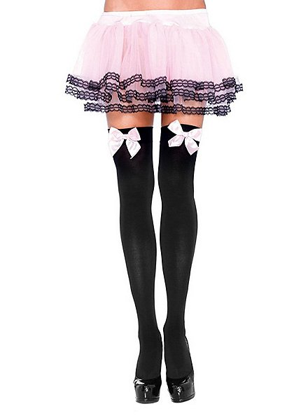 Hold up stockings with big bow black-pink