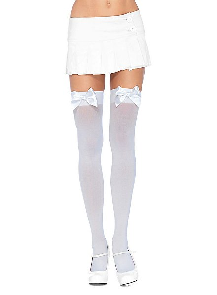 Hold up stockings with big bow white