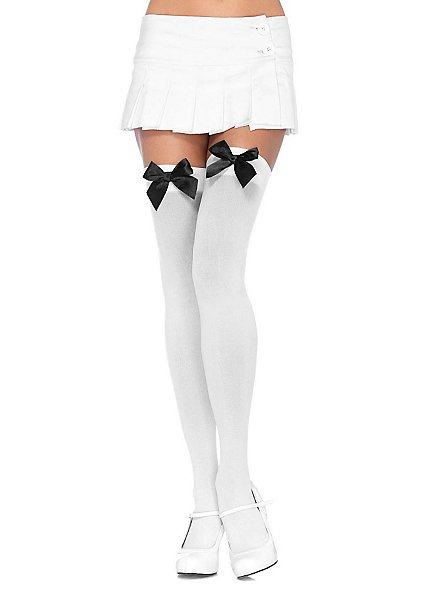 Hold up stockings with big bow white-black