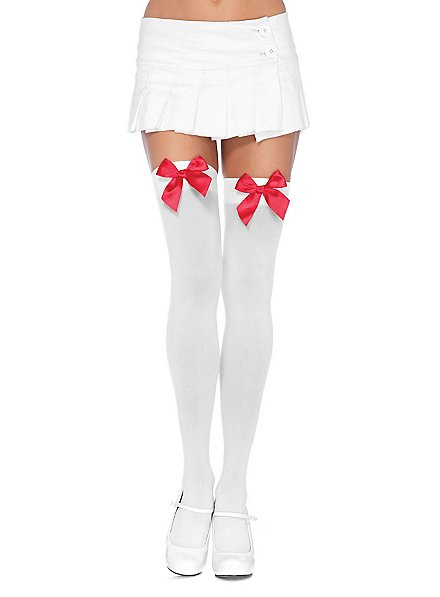 Hold up stockings with big bow white-red