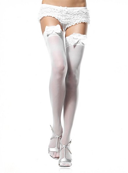 Hold-up stockings with lace and bows white