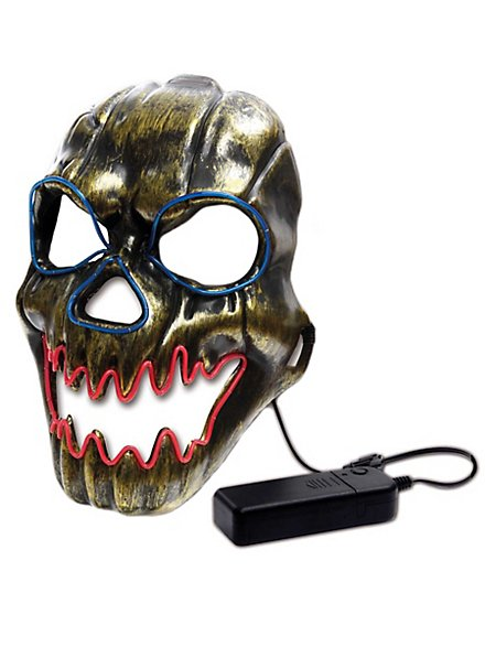Horror face luminous mask with battery compartment