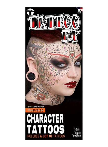 Illustrated Face Klebe-Tattoos