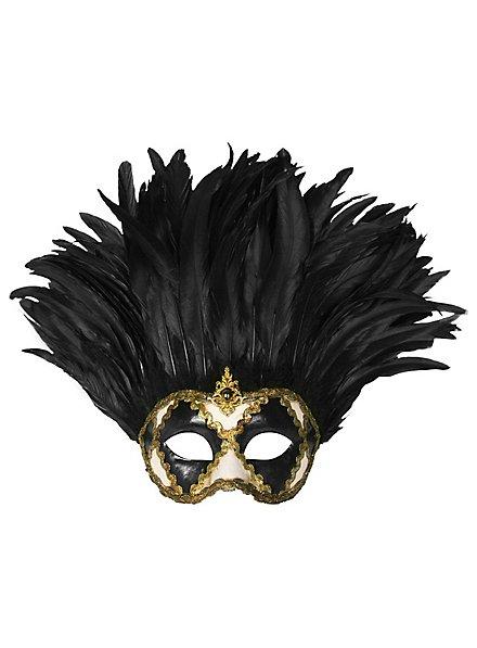 Incas Colombina bianco nero piume nere - Venezianische Maske