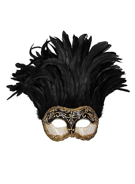 Incas Colombina Stucco Craquele Nera Piume Nera  Venezianische Maske