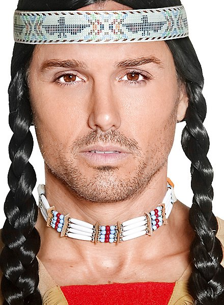 Indianer Halsband mit Holzperlen