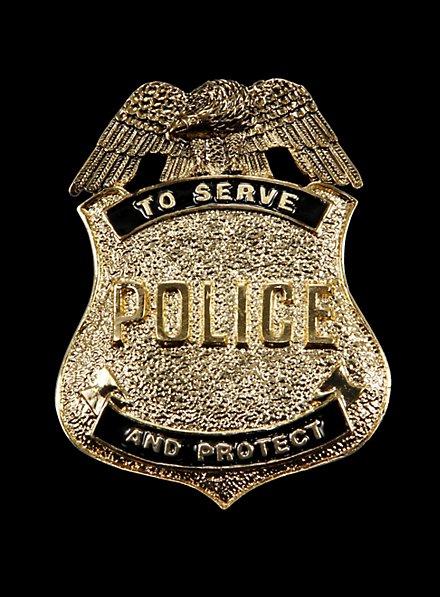 Insigne doré de police américain au style ancien