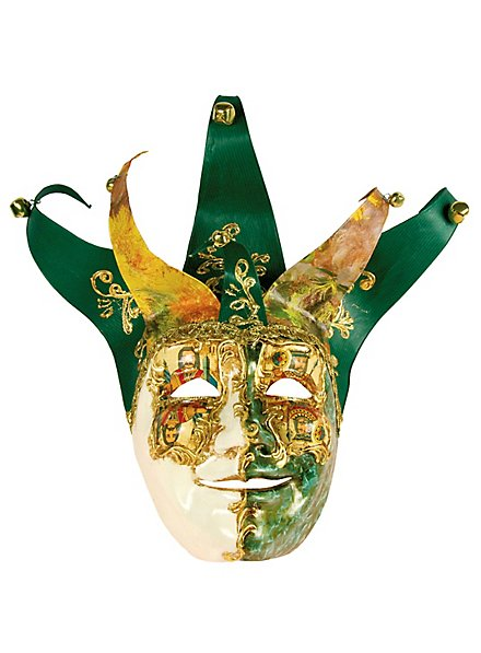 Jolly Carte Maschile verde bianco - Venezianische Maske