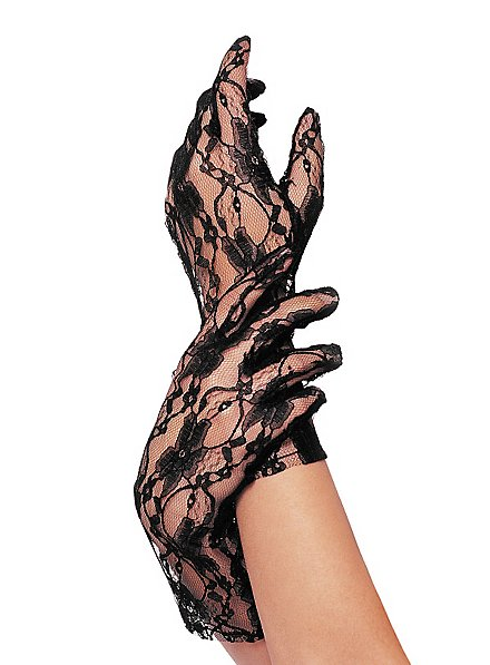 Lace Mesh Gloves black