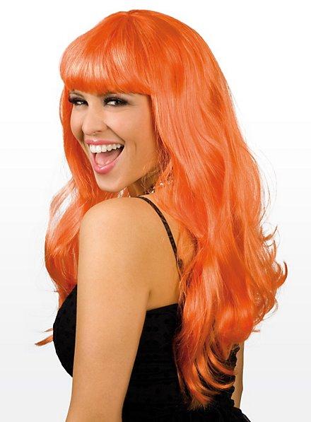 Lange Haare orange Perücke