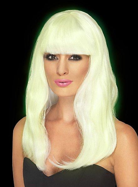 Lange Haare weiß Perücke Glow in the Dark