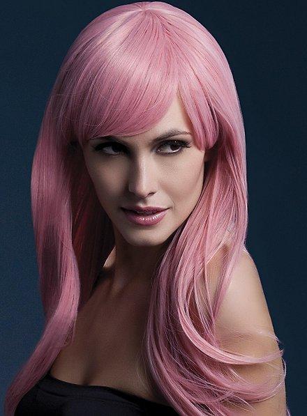 Langer Federschnitt mit Pony Perücke rosa