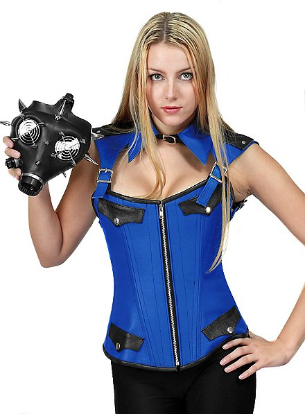 Leather Corset with Collar blue